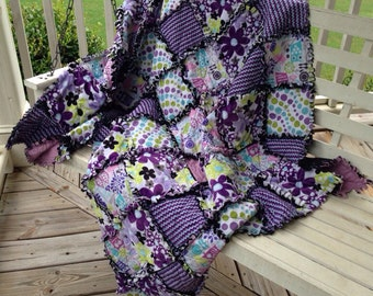 "Modern Rag Quilt Large Throw Size 53"" x 68"" Custom Made To Order"