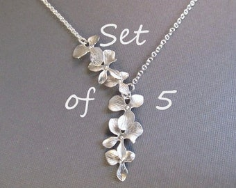 Bridesmaid Necklace Set of 5, Flower Necklace, Silver Orchid Lariat, Wedding Jewelry, Bridal Jewelry, Bridesmaids Gift, Spring Wedding