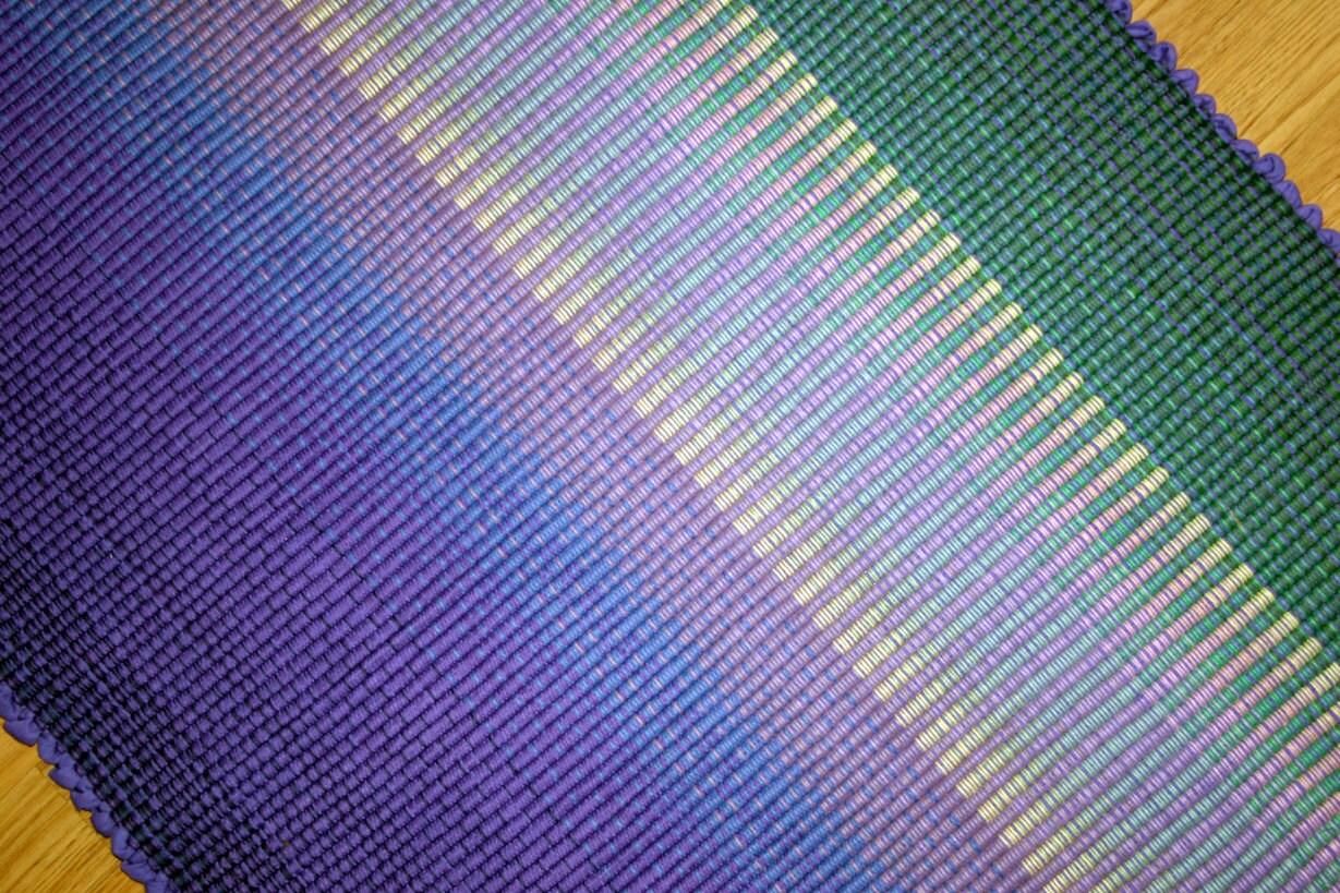 Handwoven Rag Rug Purple Green Kitchen Rug by