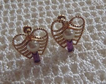 Vintage Earrings Amco Gold Filled Amethyst Pearl Screw Backs