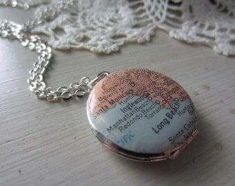Custom Vintage Map Silver Locket