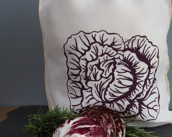 Reuseable Produce Bag - Organic Linen Bag with Drawstring - Screen Printed - Cabbage Design - Gift Bag