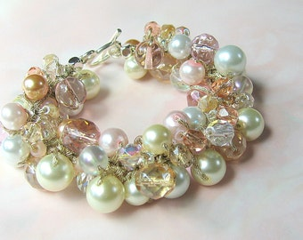 Sparkling PINK CHAMPAGNE, Peach Pink, Honey, White, Ivory Pearl Crystal Beach Wedding Bangle Cluster Bracelet, Hand Knit, Sereba Designs