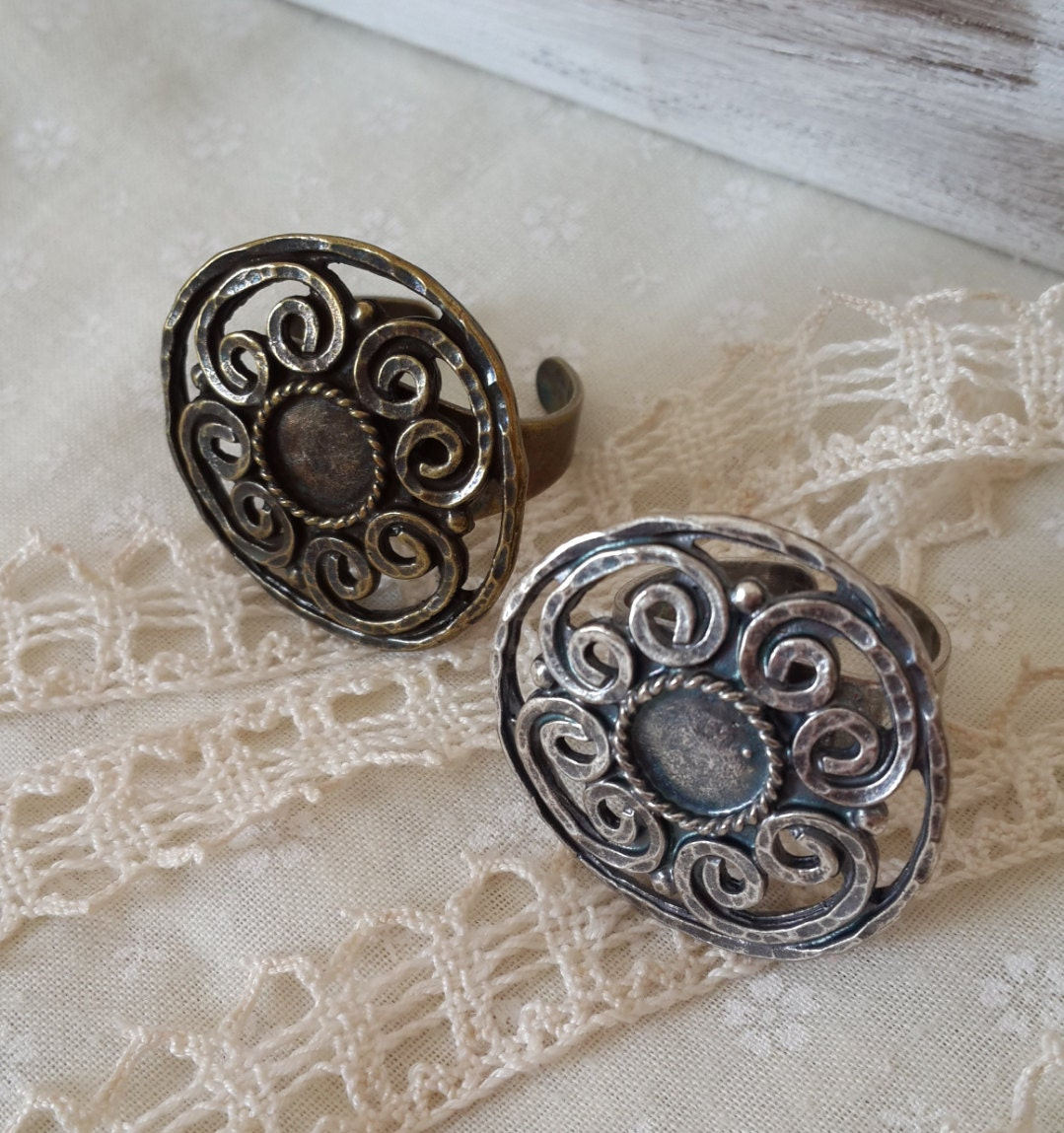 adjustable antique silver or brass ring setting findings