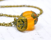 Orange Pumpkin Necklace, Halloween Charm Necklace, Jack o'Lantern Jewelry for Thanksgiving, Fall Harvest, Halloween, Vintage Bead Pendant