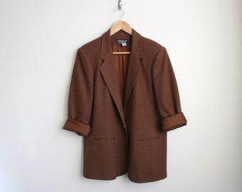 Vintage Wool Coat - Oversized Wool Blazer in Cocoa Brown - Menwear Inspired