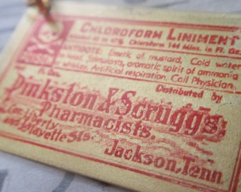 "Vintage Poison Label Necklace Apothecary chloroform brass 18"" chain"