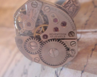 Steampunk Ring Clockwork Mechanique OX Silver  Adjustable SIZE 6.5 - 10  Up Cycled repurposed ring CR 9