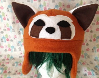 Pabu the Fire Ferret from Legend of Korra or Red Panda Inspired Handmade Fleece Hat