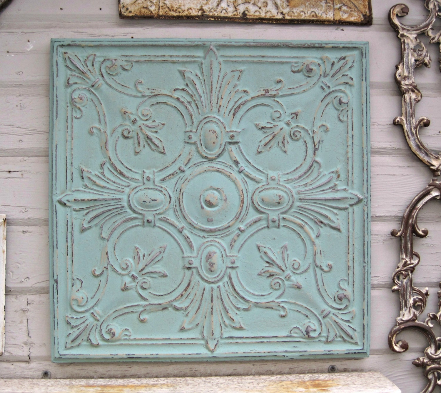 2 39 x2 39 antique tin ceiling tile circa 1900 ready to. Black Bedroom Furniture Sets. Home Design Ideas