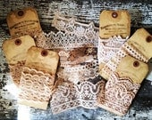 Craft Supplies - Lace - Set of 6 - French Inspired - Handmade Gift Tags - French Market - xo, j&L (LAC)