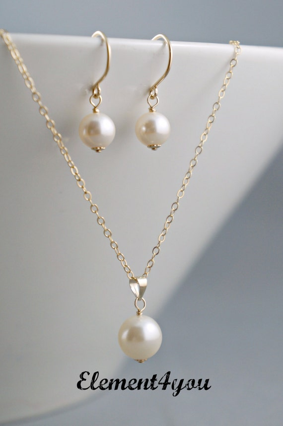 Simple Bridal Jewelry Set Gold Filled Necklace Earrings