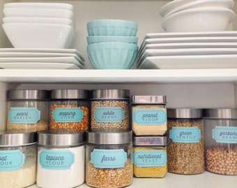 """Retro Blue """"Starter"""" Pantry Labels Collection - Printable PDF - Essentials and Large Squares - Kitchen Organization"""