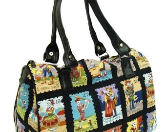 USA Handmade Handbag Doctor bag Satchel Style LOTERIA CARTAS Rockabilly Gothic Pattern Alexander Henry Cotton Fabric Bag Purse, new