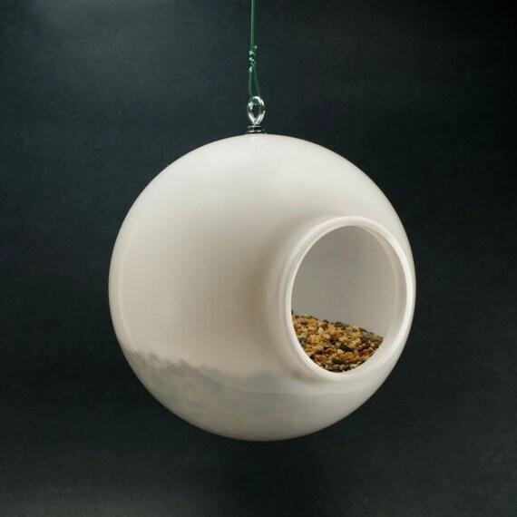 Modern Bird Feeder Birdfeeder Outdoor Birds Seed Holder Stylish Striking Minimalist Design White Acrylic Plastic Orb Globe Garden Decor