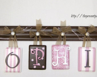 hand painted wooden letters,flowers, stripe, polka dots,pink,brown,antique white,girls letters,girls name,name wall art,girls name,kids name