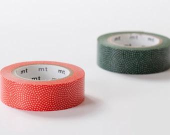 MT ex 2013 Autumn - Japanese Washi Masking Tape / Traditional Japanese Design (Dots) Pine Green or Persimmon Orange