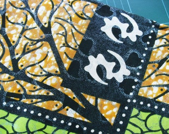 African print fat quarter with Adinkra symbols