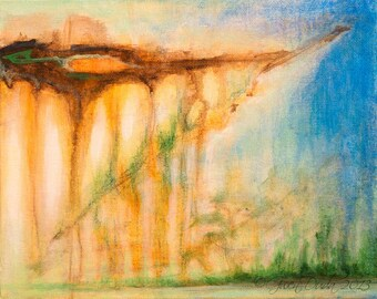 """Small Abstract Painting SFA Small Fine Art 8"""" x 10"""" Evergreen Stalactites"""" Contemporary Abstract  Landscape Art"""