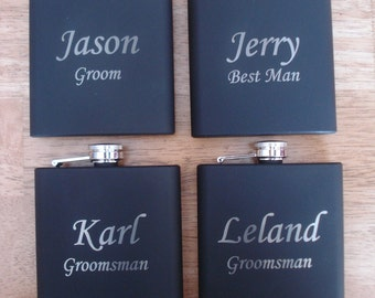 5 Personalized Flasks  -  Great gift for Groomsmen, Best Man, Father of the Groom, Father of the Bride