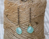 Seafoam chalecodny earrings on oxidized chain