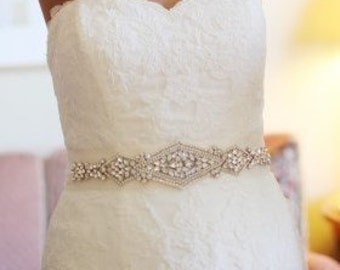 Natalia Bridal Sash, Beaded Sash, Wedding Dress Sash, Crystal Belt, Embellishment, Applique s