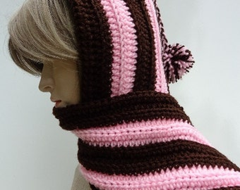 Brown and Pink Hooded Scarf - Pixie Hood - Chocolate and Strawberry - Hat and Scarf Set