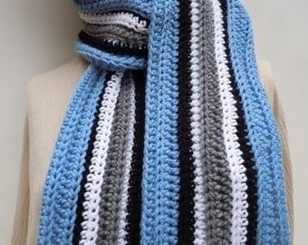 Sports Team Inspired Scarf, Blue, Gray, Black White Scarf - Team Spirit Scarf - Crochet Scarf