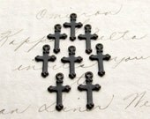 Tiny black cross charms, (10) mini crosses, 12mm, black antiqued brass, oxidized patina, goth gothic, lead nickel free, Victorian Mourning