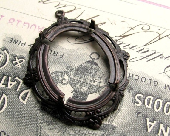 Floral edge 30x22mm 22x30mm, pronged oval setting, cameo cabochon frame, antiqued black brass mount, 30x22 22x30 22mm 30mm, CFSV025