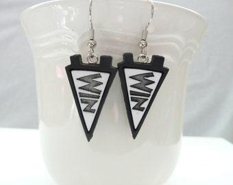 nd-Black WIN Pennant Dangle Earrings