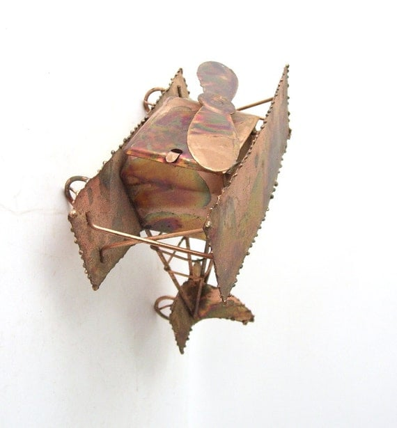 Vintage Copper Airplane Music Box Biplane Metal Decorative