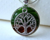 Glass Art Jewelry, Green Tree Necklace,  Necklace Tree Art,  Mosaic Tree, Stained Glass Tree