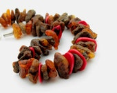 Raw African Necklace / Huge Amber Jewelry Tribal / Natural Baltic Amber Red Coral / Brown Orange  / Rough Stone / Earthy Colors / Eco Rustic