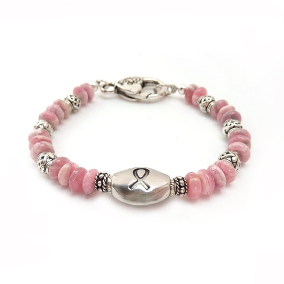 Breast Cancer Awareness Bracelet Pink By RockStoneTreasures