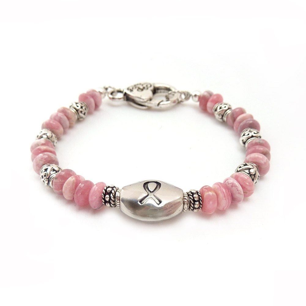 Breast Cancer Awareness Bracelet Pink Rhodochrosite Stones