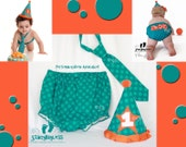 Turquoise Party Hat, Diaper Cover, Necktie for 1st Birthday Party and Cake Smash - ORIGINAL Design by Stacy Bayless
