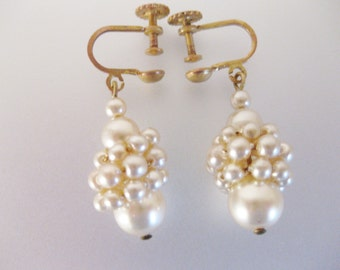 Vintage 1930's Victorian Style Wired Faux Pearl Dangling Drop Earrings