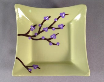 Catchall Dish - Pale Green with Purple Blossoming Branches