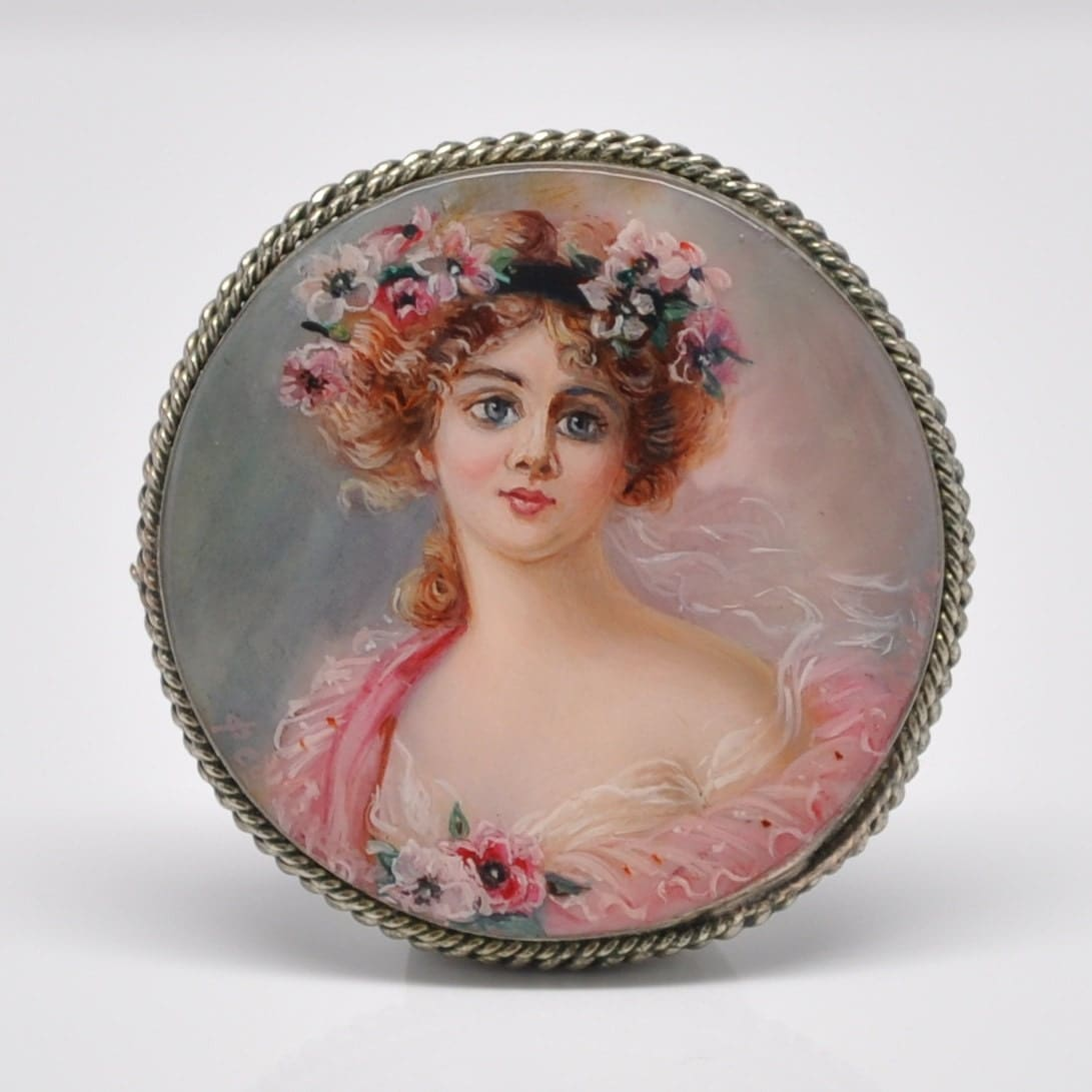 Hand painted miniature portrait painting brooch pink victorian for Hand painted portraits from photos
