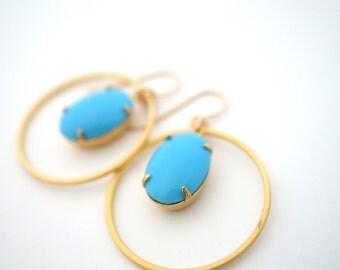 Turquoise Hoop Earrings, Vintage Turquoise Earrings, Circle Earrings, Art Deco Earrings