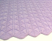 Lavender Baby Blanket Hand Knit Baby Blanket Orchid Purple Newborn Infant Knitted Baby Afghan Girl Boy - SticksNStonesGifts