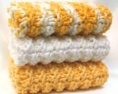 Knit Dishcloth Cotton Dish Cloth Lemon Yellow Washcloth