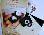 KIT for making miniature panda bear Miyako - pattern and materials