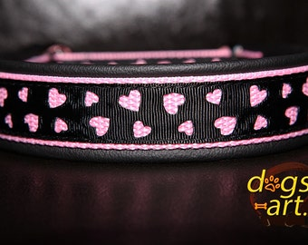 """Dog Collar """"Love"""" by dogs-art, princess dog collar, leather dog collar, hearts, pink dog collar, girl dog collar, martingale collar, collar"""
