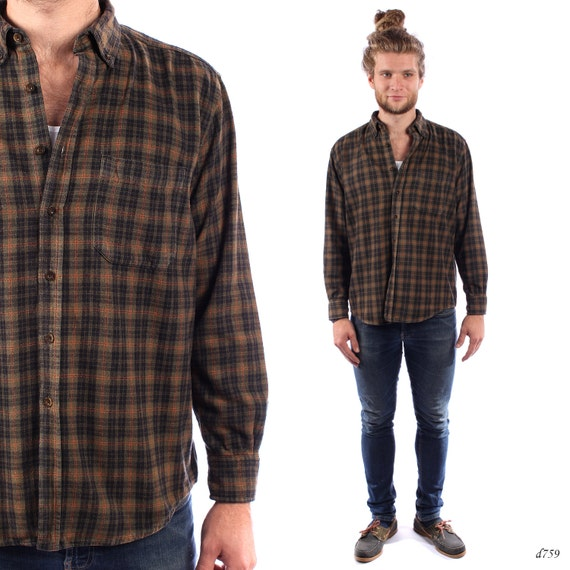 Mens flannel shirt checked mens shirt winter shirt green for Mens warm flannel shirts