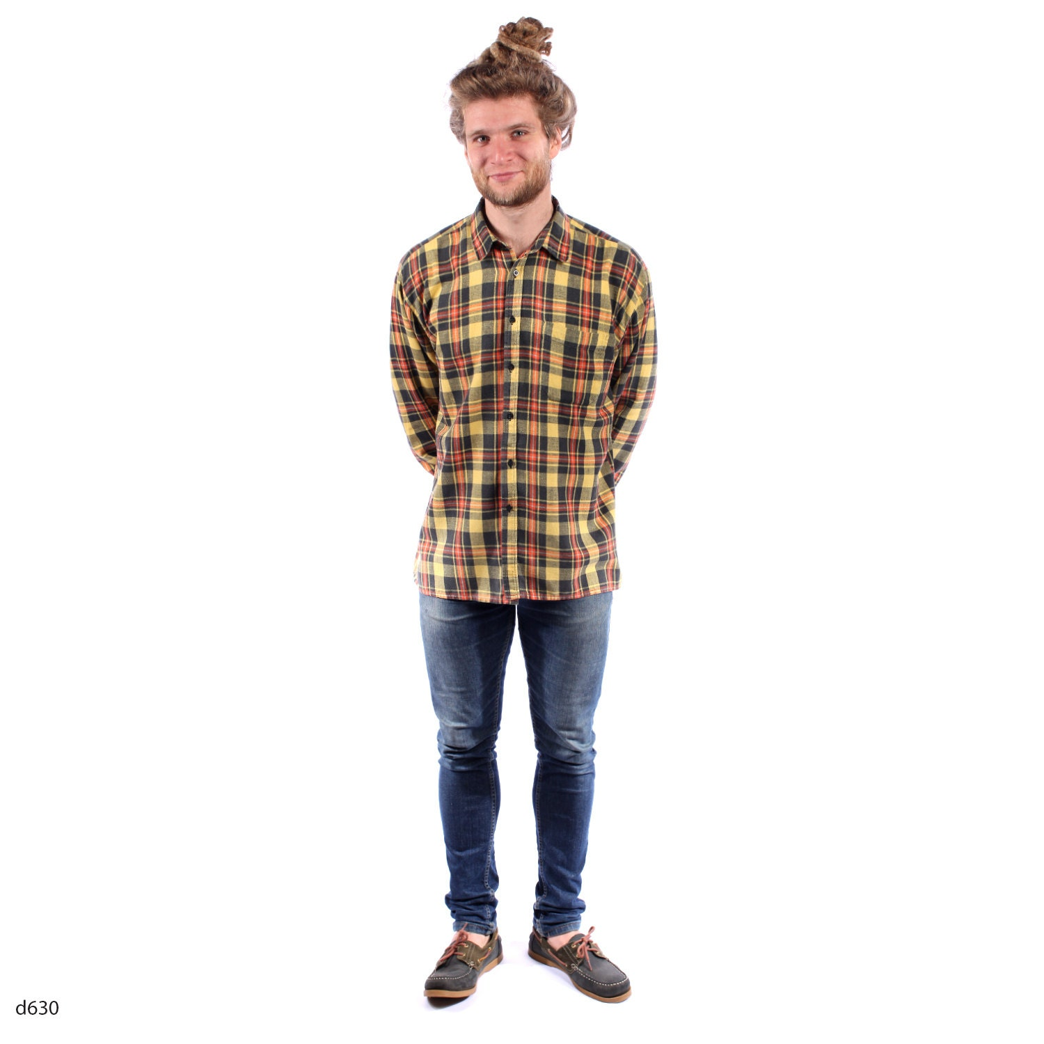 Mens flannel shirt in yellow vintage lumberjack by for Mens warm flannel shirts