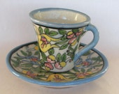Vintage 50s Mexican Pottery Rugario signed Cup Saucer Puebla Demitasse
