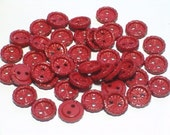 SALE Red Vintage Plastic Buttons 11mm Sewing Craft Buttons Set 42