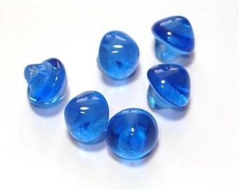 6 Clear Cobalt Blue Vintge Glass Buttons 8mm Small Buttons Self Shank